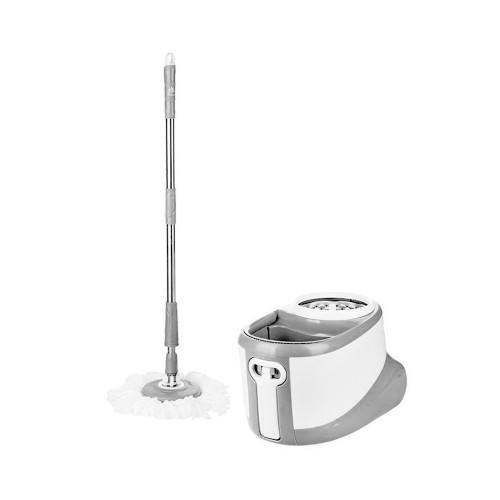 Περιστρεφόμενη Σφουγγαρίστρα Spin Mop με δύο Κεφαλές και Κουβά, Λευκό-Ασημί, Spin Mop-001