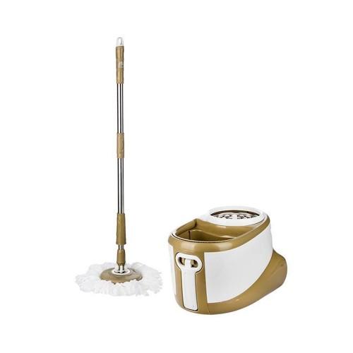 Περιστρεφόμενη Σφουγγαρίστρα Spin Mop με δύο Κεφαλές και Κουβά, Λευκό-χρυσό, Spin Mop-002