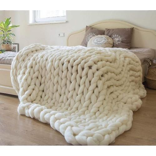 Πλεκτή Κουβέρτα Διπλή 200Χ240, Λευκό, Blanket-058