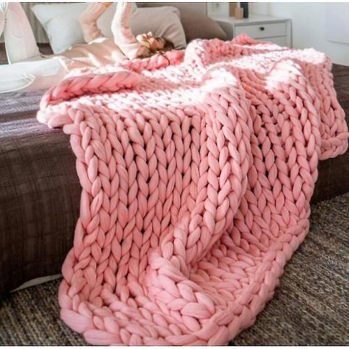 Πλεκτή Κουβέρτα Διπλή 200Χ240, Ρόζ, Blanket-057
