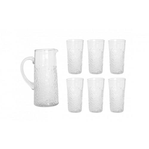Σετ Γυάλινη Κανάτα  Και 6 Ποτηριά Νερού, set Glass-001