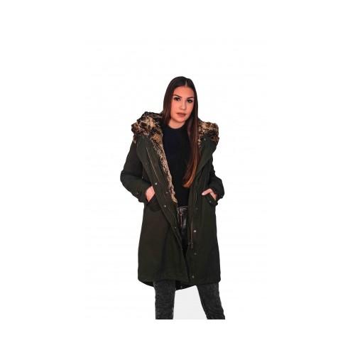 Γυναικείο Μπουφάν με Γούνινη Κουκούλα ,Χακί, WJACKET-001