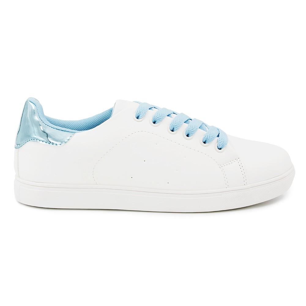 Γυναικείο Sneakers Παπούτσι, Λευκό-Γαλάζιο, SN-005