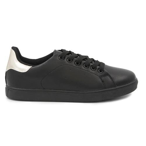 Γυναικείο Sneakers Παπούτσι, Μαύρο-Χρυσό, SN-002