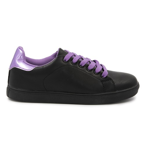 Γυναικείο Sneakers Παπούτσι, Μαύρο-Μώβ, SN-010